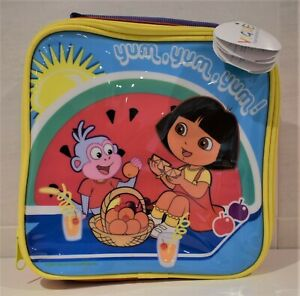 Dora The Explorer Insulated Padded Zipped Lunch Box Bag Cae With Carry Handle