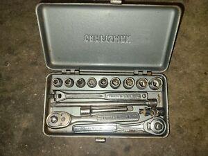"""Vintage Craftsman 1/4"""" Drive Socket Set In Metal Box. With spare -v- ratchet"""