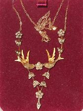 Vintage Necklace Seed Pearls Gold Birds Dove