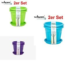 Whatmore  Vista 18 cm Round Set of 2 Plant Pots & 2 Saucers-Three Colors