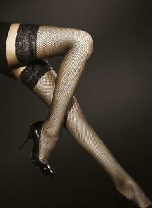 Luxury Fiore Liza Sensuous Super Soft Fishnet Hold-Ups Sexy Lace Tops 40 Denier