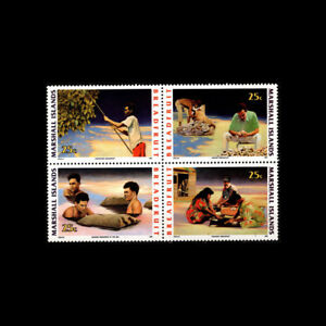 MARSHALL IS, Sc #390a, MNH, 1990, Blk of 4, Breadfruit, agriculture, DD-9