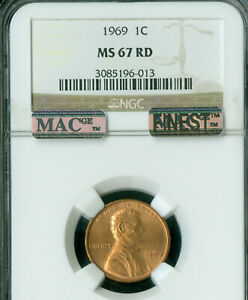 1969 LINCOLN CENT NGC MS67 RED PQ MAC FINEST GRADED MAC SPOTLESS RARE *