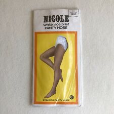 Sexy Vintage 60s 'Nicole' White Lace Brief Sheer Stretch Pantyhose 9.5/10 ~ Avg