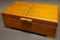 Vintage Mahogany Jewelry Keepsake Trinket Box with Mirror