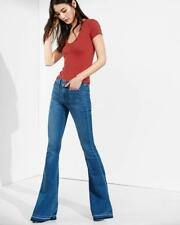 NWT $80 Express Size 2R Released Hem Mid Rise Bell Flare Jeans Med Blue Fade 2 R