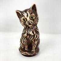 "Vintage Chalkware Handpainted Cat Figurine Glass Eyes 5.5"""