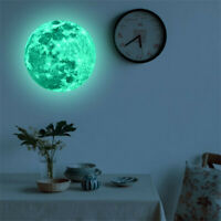 30cm 3D Large Moon Fluorescent Wall Sticker Removable Glow In The Dark Decal Hot