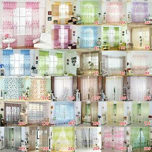 Lot Flower Printing Sheer Curtain Yarn Tulle Window Blind Screen Voile Panel UK