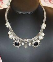 Vintage Unique Victorian faux Pearl Rhinestone pave Silver tone Choker Necklace