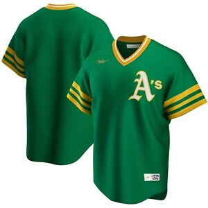 Nike Kelly Green Oakland Athletics Road Cooperstown Collection Team Jersey Sz M