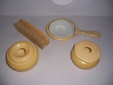 Vintage Art Deco French Ivory Celluloid Vanity Dresser Set
