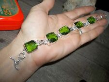 "BEAUTIFUL NEW GREEN PERIDOT 5 STONE 7 TO 7 1/2"" BRACELET JEWELRY HANDCRAFTED"