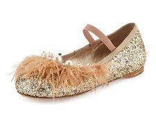 MIU MIU feather-trim pearls crystals GLITTER ballerina flats EU 38.5 US 8.4 GOLD
