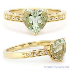Right-Hand Ring 14k Yellow Gold 1.12ct Heart-Shape Green Amethyst Round Diamond