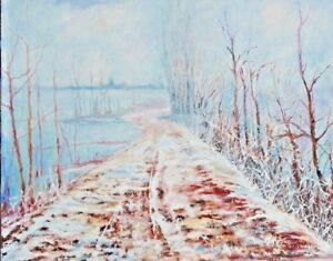 Olio su tela cm 40x50 - Paesaggio invernale