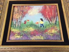 VTG Painting Encaustic Enamel on Copper by Jordine-Girls Playing in Field Framed