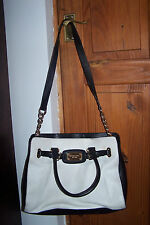 Genuine MICHAEL KORS – BLACK WHITE leather HAMILTON shoulder hand BAG purse