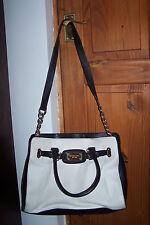 Genuine MICHAEL KORS – BLACK WHITE leather HAMILTON shoulder hand BAG purse