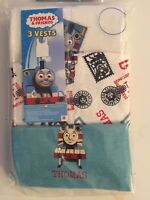Boys Thomas The Tank Engine Pack of 3 Vests Cotton White Blue 2 3 4 5 6 Years