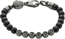 NEW DIESEL MEN'S BEADED GUNMETAL & BLACK BRACELET DX0950060