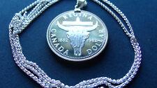 "1982 Canada Regina Cowboy Proof Silver Dollar Pendant 30"" Pure .925 Silver Chain"