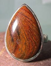 Sterling silver cabochon Pietersite chunky ring UK L½-¾/US 6.25