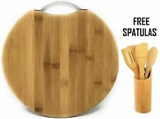 Bamboo Wooden Chopping Cutting Board  Reversible With Handle FREE 4 Spatula Set