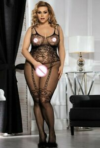 Black Fishnet & Lace Crotchless Full BodyStocking SEXY Lingerie PLUS Size 14-18