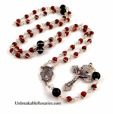 Virgin Mary Untier of Knots Unbreakable Rosary Beads Red Jasper Blue Goldstone