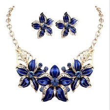 Gold Plated Jewelry Set Crystal Flower Blue Sapphire Gemstone Necklace+Earrings