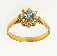 Gold Blue Topaz Ring Ladies Yellow Gold Engagement Ring Size F - V