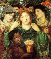 Huge Oil painting Rossetti  - Bride with young girls holding red flowers canvas