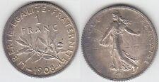 +Gertbrolen+ Un franc  Argent Semeuse 1908 Superbe qualité