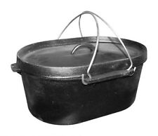 OVAL CAST IRON STOCK COOKING STEW POT DUTCH OVEN APPROX 10.8LTR Griddle Lid