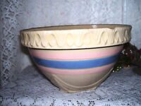 Antique McCoy Pottery Bowl Yellow with Blue and Pink Stripes