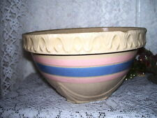 """Large Antique McCoy Pottery Bowl Yellow with Blue and Pink Stripes 8"""""""