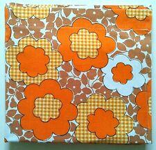 Vintage Simpson's FULL FLAT Bedsheet 70's Retro Flower Power Orange Brown