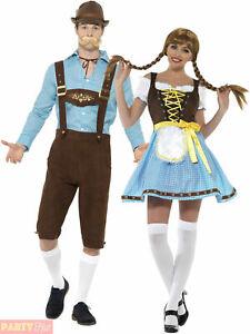Mens Ladies Oktoberfest Costume Bavarian Beer Lederhosen Couples Fancy Dress