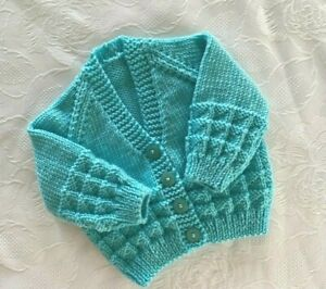 New Hand knitted  Baby Boy's or  Girl's  Turquoise V-  Neck Cardigan  0-3 Months