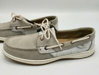 Sperry Bluefish Crosshatch Sneakers Grey Boat Shoes Women's Size 11