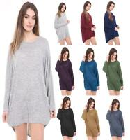 Ladies Women Plain Batwing Oversized Long Sleeve Baggy Sweater Jumper Top 8-26
