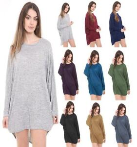 Ladies Women Plain Batwing Oversized Long Sleeve Baggy Sweater Jumper Top 8-26