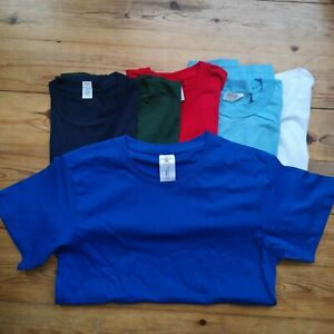 6 small MENS tee BUNDLE Tshirt pack T-shirts plain cheap job lot mixed colours A