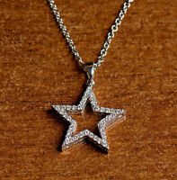 1.00 Ct Round Cut Diamond Women's Wedding Star Pendant 14K White Gold Finish