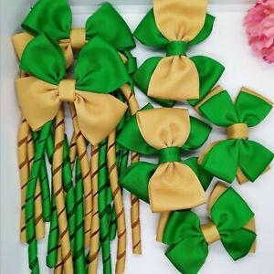 6pcs set SCHOOL Hair Clips BOW HAIR CLIP KIDS HAIR BOWS CLIP  GREEN AND GOLD