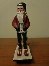 """Randy Tate Santa On Skis Rocking Base 9.5"""" Midwest Of Cannon Falls Signed"""
