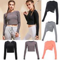 Women Sports Yoga Shirt Long Sleeve Crop Top Workout Gym Fitness Running Shirt B