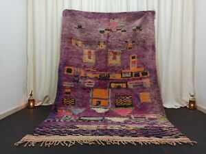 "Tribal Berber Boujad Moroccan Rug Vintage Nomad Handmade Purple Rug 5'5""x 8'3"""