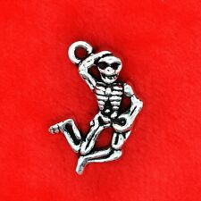 4 x Tibetan Silver Halloween Dancing Skeleton Charm Pendant Beading Making